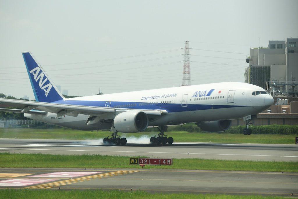 ANA飛行機・伊丹空港着陸